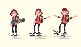 Set guy riding on a skateboard. Vector illustration. Of a flat design Royalty Free Stock Photography
