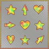 Set gwiazdy, serca, strzała z Holograficznym skutkiem royalty ilustracja