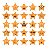 Set gwiazdy z różnymi emocjami, szczęśliwe, smutne, uśmiechnięte ikony, Obraz Royalty Free
