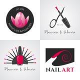 Set gwoździa salon, gwóźdź sztuki wektorowy logo, ikona, symbol, emblemat Obrazy Royalty Free