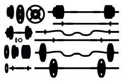 Set gym akcesoriów sylwetki Fotografia Stock