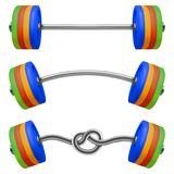 Set of gym barbell isolated. Realistic vector. Illustration of fitness equipment Stock Photography