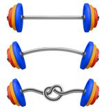 Set of gym barbell isolated. Realistic vector. Illustration of fitness equipment vector illustration