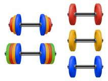 Set of gym dumbbell isolated. Realistic vector. Illustration of fitness equipment stock illustration