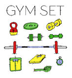 Set gym elementy Fotografia Stock