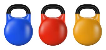 Set of gym kettlebell isolated. Realistic vector. Illustration of fitness equipment Stock Photos