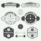 Set of gym logo, labels,badges and elements in vintage style Stock Photo