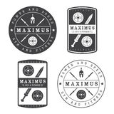 Set of gym logo in vintage style Royalty Free Stock Image
