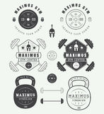 Set of gym logos, labels, badges and elements in vintage style Royalty Free Stock Images