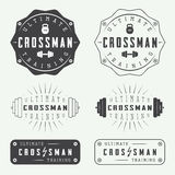 Set of gym logos, labels, badges and elements in vintage style. Set of gym vector logos, labels, badges and elements in vintage style stock illustration