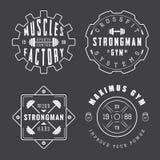 Set of gym logos, labels and slogans in vintage style. Set of vector gym logos, labels and slogans in vintage style Stock Photos