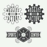 Set of gym logos, labels and slogans in vintage style. Set of gym vector logos, labels and slogans in vintage style Stock Photography