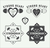 Set of gym logos, labels and slogans in vintage style. Set of gym vector logos, labels and slogans in vintage style Royalty Free Stock Photography