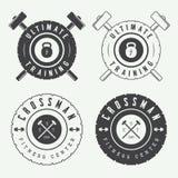 Set of gym logos, labels and slogans in vintage style. Set of gym vector logos, labels and slogans in vintage style Royalty Free Stock Image