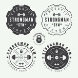 Set of gym logos, labels and slogans in vintage style. Set of gym vector logos, labels and slogans in vintage style Royalty Free Stock Photos