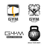 Set gym logowie w wektorze Obrazy Royalty Free