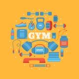Set gym wyposażenie Fotografia Royalty Free