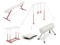 Set of gymnastic equipment  on white background. 3d rend Stock Image