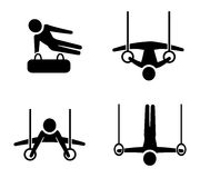 Set of gymnastic icons in silhouette style Stock Photography