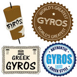 Set of gyros labels Stock Images