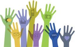 Set Hände mit Kommunikationsikonen. Lizenzfreie Stockfotos