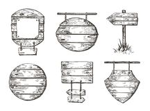 Set h?lzerne Zeichen Skizzengraphiken Promenadenhintergründe lizenzfreie abbildung