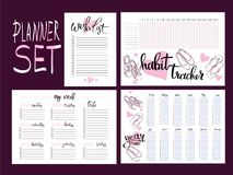 Set: habit tracker, wish list,weekly and year planner Stock Images