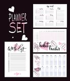 Set: habit tracker, wish list,weekly and year planner. Set: habit tracker, wish list,weekly and year  planner blank template Royalty Free Stock Photography