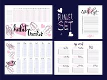 Set: habit tracker, wish list,weekly and year planner Stock Photos