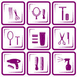 Set of hair care icons Royalty Free Stock Photo