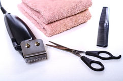 Set of hair care products to hair-clipper. Towel stock images
