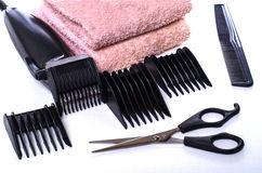 Set of hair care products to hair-clipper. Towel stock image
