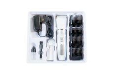 Set of hair clipper for hairdressers isolated on white background. With clipping path royalty free stock photos