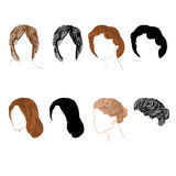 Set hair natural and silhouette Vector. Illustration without gradients stock illustration