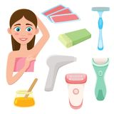 Set of flat style hair removal, depilation tools. Set of hair removal, depilation tools - razor, epilator, laser, wax strips and cartridge, sugaring paste, flat Stock Image