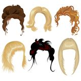 Set of hair styling. Set of long hair styling stock illustration