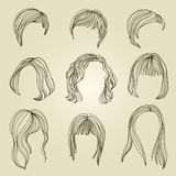 Set of hair styling for woman Royalty Free Stock Image