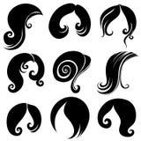 Set of hair symbols Royalty Free Stock Photos