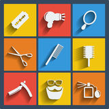 Set of 9 hairdress web and mobile icons. Vector. Stock Photo