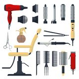 Set of hairdresser objects in flat style isolated on white background. Hair salon equipment and tools logo icons, hairdryer, comb,. Scissors, chair, hairclipper Royalty Free Stock Image