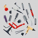 Set of hairdresser objects in flat style on transparent background. Hair salon equipment and tools logo icons, hairdryer. Comb, scissors, chair, hairclipper Stock Images