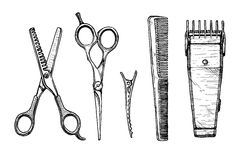 Set of hairdressers tools Stock Photos