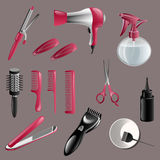 Set Of Hairdressing Accessories. Colorful hairdresser decorative set with beauty haircut accessories Stock Photography