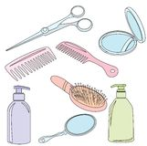 Set Of Hairdressing Accessories Stock Photos
