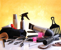 Set hairdressing articles on glass table horizontal composition Royalty Free Stock Images
