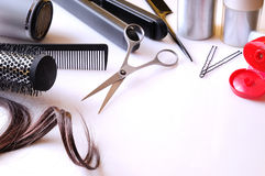 Set hairdressing articles on a white table Royalty Free Stock Photo