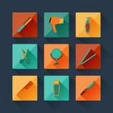 Set of hairdressing icons in flat design style Stock Photos
