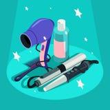 Set of hairdressing styling equipment Hair dryer, curler.  Stock Photo