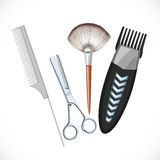 Set hairdressing tools - hair clipper, scissors, brush, comb Royalty Free Stock Photography