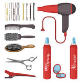Set of hairdressing tools vector illustration isolated on white background. Set of hairdressing tools vector illustration isolated on white. Professional combs stock illustration